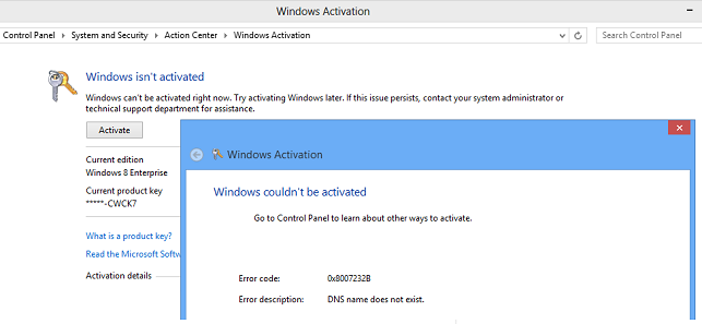 Activation of Windows 8 Enterprise failed