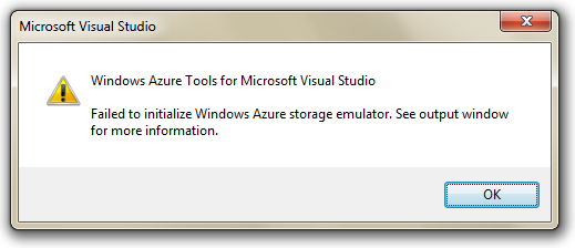 Failed to initialize Windows Azure storage emulator.